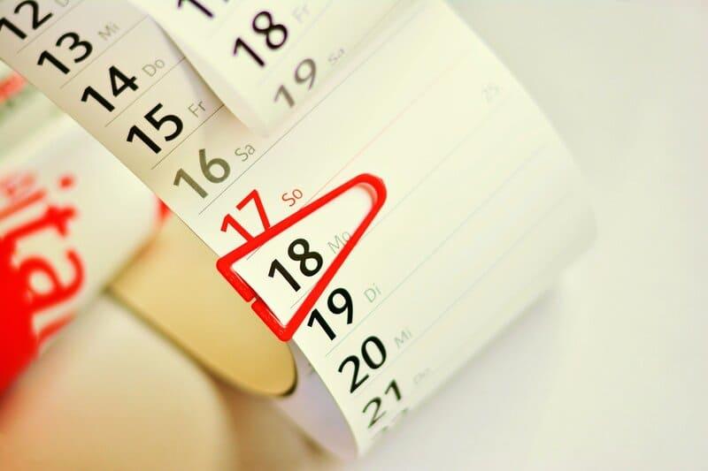 fecha marcada en el calendario fecha del parto