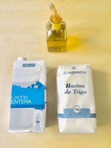 harina leche y aceite